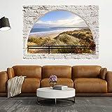 murando - 3D WANDILLUSION 210x150 cm Wandbild - Fototapete - Poster XXL - Fensterblick - Vlies Leinwand - Panorama Bilder - Dekoration - Mauer Ziegel Meer Strand Dünen
