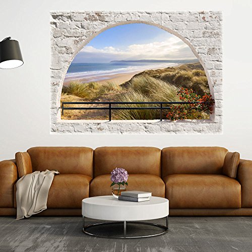 (murando - 3D WANDILLUSION 140x100 cm Wandbild - Fototapete - Poster XXL - Fensterblick - Vlies Leinwand - Panorama Bilder - Dekoration - Mauer Ziegel Meer Strand Dünen)