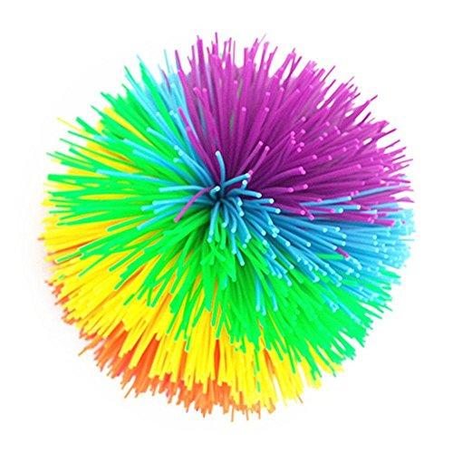 Aolvo - Pelotas de hilos, grandes 8 cm, coloridas bolas, pelotas de arco iris, bolas sensoriales, juguete de silicona, bolas sensoriales, pelota antiestrés para niños, adultos, oficina y hogar., #1, Estándar