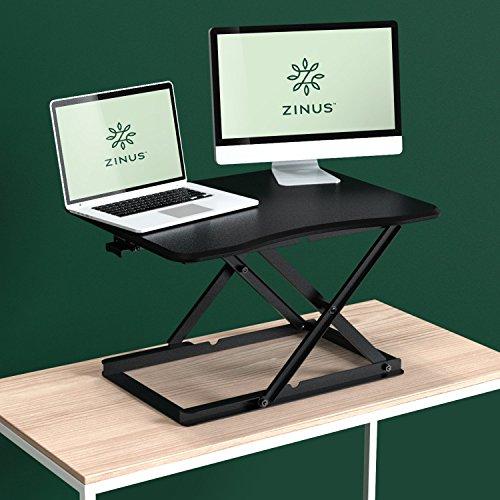 Zinus Standing Adjustable Desktop Workstation - Zinus Smart Adjust Standing Desk/Height Adjustable Desktop Workstation / 28in x 21in / Black