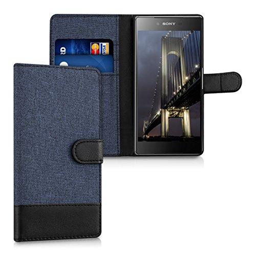 kwmobile Wallet Case Canvas Hülle für Sony Xperia Z5 Premium - Flip Tasche mit Kartenfach und Ständer in Dunkelblau Schwarz