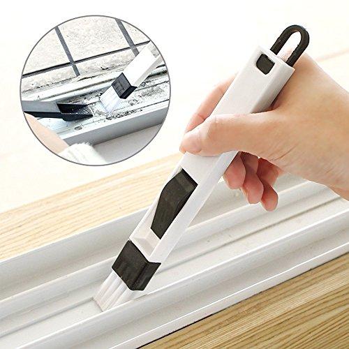 Reinigungsbürste Fenster Bürste, Baffect 2 in 1 Mehrzweck Groove Mini Kleine Bürste Abnehmbarer Bürste Zum Renigen Für Fensterns und Tastaturen