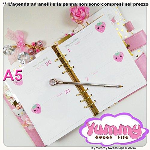 A5 REFILL handmade per agende planner 2 Giorni per Pagina Frola la fragola - Calendario Giorno Planner