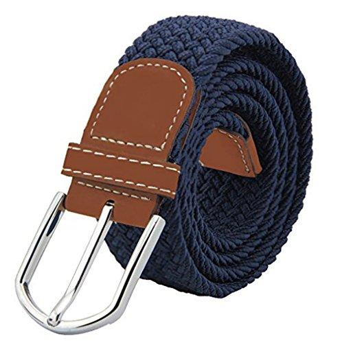 JTDEAL Cinturon elastico hombre, Cinturon Trenzado, Unisex Hombres Mujeres Casual Tejido, Hebilla Metal y Caja De Regalo Negra Elegante Como Regalo, Uso Diario Etc   Azul
