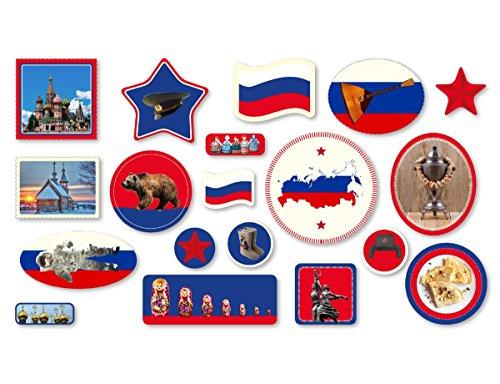 XXL-Großkonfetti * RUSSLAND * mit 57 großen Konfetti-Teilen für eine Motto-Party oder Länder-Party // Russia Kinder Kindergeburtstag Deko Motto