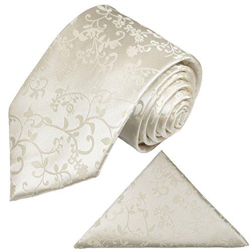 Krawatten Set 2tlg Krawatte + Einstecktuch von Paul Malone ivory elfenbein Hochzeitskrawatte Bräutigam