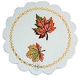 Farbenfrohe Tischdecke Decke Weiß Blätter Bunt Gestickt Herbstdecke Pflegeleicht Tischdeko Halloween Herbst (Deckchen rund 30 cm)