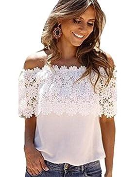 WINWINTOM Las mujeres del hombro remata la blusa del cordón del ganchillo de la gasa de la camisa