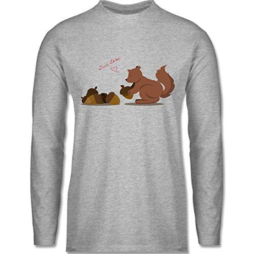 Shirtracer Wildnis - Eichhörnchen True Love - Herren Langarmshirt Grau  Meliert