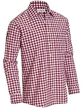 Almsach Herren Regular Fit Trachten Hemd LF106 weinrot