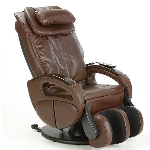 maxVitalis Massagesessel mit Wärmefunktion, Shiatsu-Massage, Körperscan, Fernsehsessel mit Rollen, elektrischer Relaxsessel, Stressless Sessel mit Verstellbarer Liegeposition (Braun)