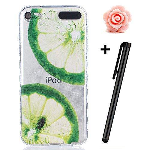 TOYYM UltraSlim Hülle Schutzhülle für iPhone 7 Plus,TPU Bumper Case Shock Absorption Scratch-Proof Silikon Cover transparent,Two Feder Grüne Zitrone