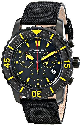 Stuhrling 3267.02 - Orologio da polso da uomo, cinturino in pelle colore nero