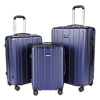 CarryOne Juego de 3 Piezas Equipaje con Ruedas Giratorias Concha Dura Ligero Maleta (20 24 28 Inch) – TD3-Azul