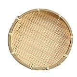 Fenteer Bambuskörbchen, geflochtener Dekokorb - Holzfarbe, 13 × 2 cm