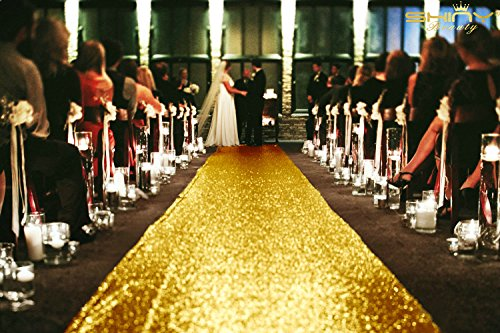 ShinyBeauty Tisch und runner-3ftx40ft Long-Sequins-Runner, gold, 3FTx40FT