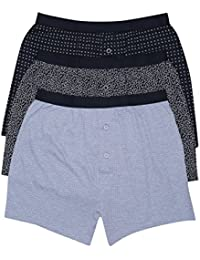 M&Co Mens Mixed Patterned Print and Plain Button Front Stretch Waistband Basic Boxer Shorts - 3 Pack