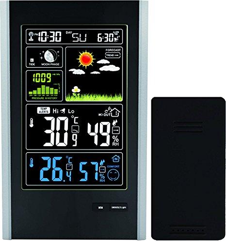 Think Gizmos Atomic Kabellose Wetterstation mit Funksensor für innen/außen–Farbdisplay, Wetterstation, Wecker, mit Temperaturalarm, Wettervorhersage, Tall