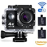 Maxesla 4K Action Camera Sports Camera WIFI 2.0 Inch LCD 16MP Waterproof Case 170 Ultra Wide-Angle Lens DV Camcorder With 2 Batteries And Free Mounting Accessories Kit