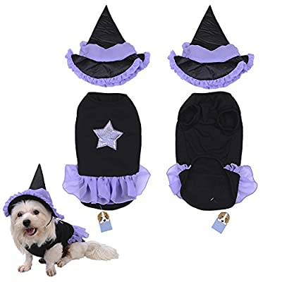 TAONMEISUTM Pet Dog Cat Costumes Clothes Halloween Party Lovely and Comfortable Puppy Doggy Wizard Clothes with Hat for Small and Medium Sized Dogs Cats 3 Sizes