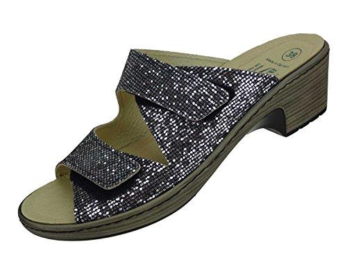 Algemare Damen Leder Pantolette 'INOX' Keilpantolette mit waschbarem Algen-Kork Wechselfußbett Made in Germany 6118_9912, Größe:39