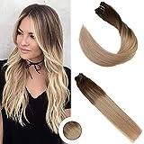 Ugeat 14 Zoll/35cm Extensions Echthaar Clip in Braun Gesträhnt mit Blond Balayage Clip in Echthaar Remy Haarverlängerung Voller Kopf 7pcs