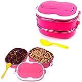 CHENFEI Acero inoxidable del trazador de líneas doble Bento Box Lunch Contenedores para niños y adultos 1.8l rojo