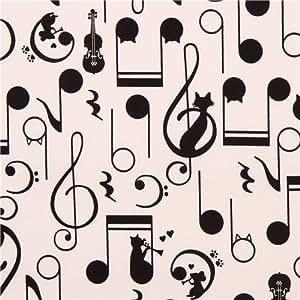 Tissu Oxford écru avec des chats, des notes de musique et des souris