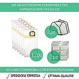 Kit 12 Sacchetti Compatibili Per Vorwerk Folletto VK140/150 + 12 Profumini + 2 Filtri Griglia Motore - Garanzia 24 Mesi Figevida
