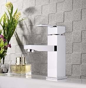 Mitigeur lavabo carre de chrome robinet de lavabo carre Salle de bain robinet