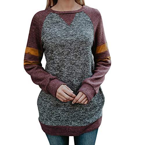 TianWlio Damen Langarmshirt Bluse Sweatshirt Kapuzenpullover Frauen Lässiger Streifen Patchwork...