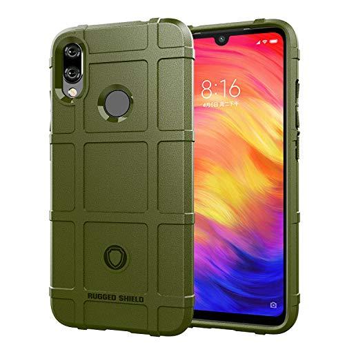 Redmi Note 7 / Pro Hülle, Silikon Leder [Slim Thin] Flexible TPU Schutzhülle Stoßdämpfung Karbonfaser Hülle für Xiaomi Redmi Note 7/Pro, Army Grün
