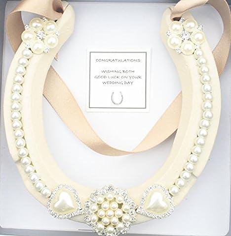 Lucky HorseShoe Real Bridal Wedding gift, (ANTIQUE GOLD, IVORY SHOE)
