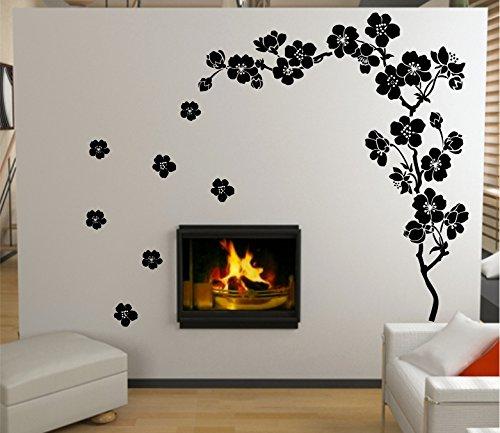 Plum Blossom Blume Baum Wand Kunst Aufkleber für Wohnzimmer Dekoration wiederablösbar Vinyl Aufkleber Art Home Dekorieren - blau (brilliant blue) Bb Blossom