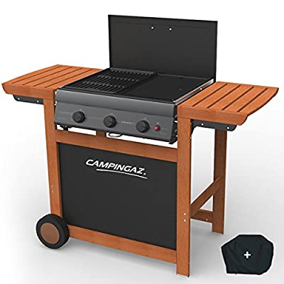 Grill Grill und Plancha Gas Camping Gas Adelaide 3 Wood Piezo 14 kW Duo Grill Plancha Tragetasche
