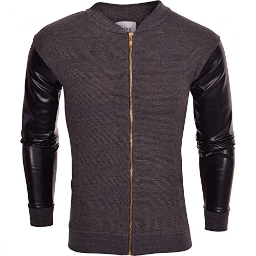 king-kouture-mens-zip-up-jersey-bomber-jacket-waffle-top-leather-look-arms-medium-dark-grey