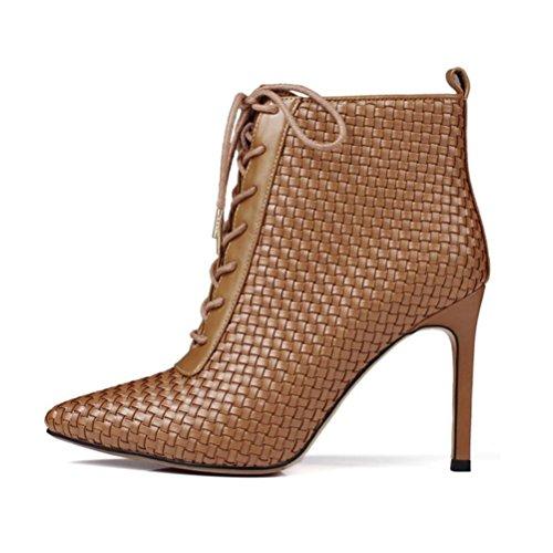 Qpyc Femme Femme Talons Hauts En Cuir Véritable Tissage Chaussures Pour Femmes Bout Pointu Mince Bottes Courtes Bandoulière Bottes Pour Femmes Brun Marteau Bottes