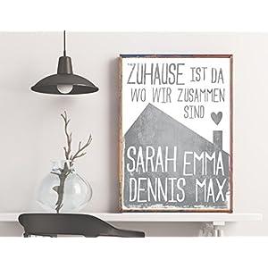 Dein Familien-Poster: Zuhause ist da wo wir zusammen sind – graues Haus – mit den Namen Deiner Familienmitglieder