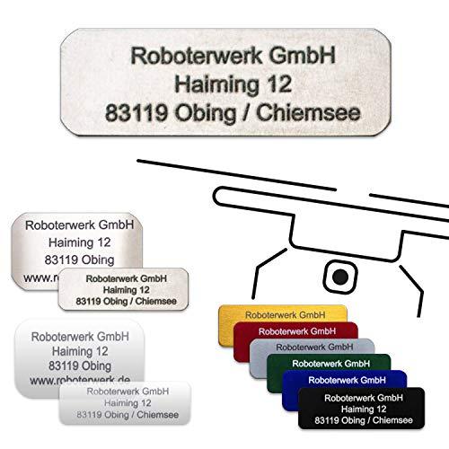 Roboterwerk Drohnen-Kennzeichen - eloxiertes Aluminium, Titan, High-Tech Glas - präzise Laserbeschriftung inkl. hilfreicher Pilotenkarte (Plakette zur Adress-Kennzeichnung) günstiger ab 2 Stück