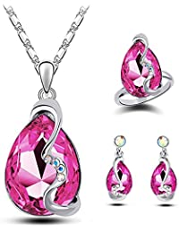Meilanty signore dei monili Earrings + Necklace + anello con rimorchio Kristal
