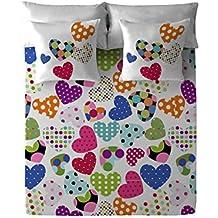 Costura Pop Heart - Juego de sábanas para cama de 90 cm