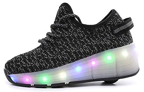 NEWZCERS Unisex Erwachsene Kinder LED blinkende Rollschuhe Schuhe Sport Laufschuhe Turnschuhe