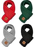 4 Pezzi Bambini Sciarpa a Maglia Inverno Solido Colore Neonato Sciarpa Scalda Collo per Ragazzo Ragazza (Rosso, Verde, Nero, Grigio Chiaro)