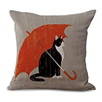 """Eazyhurry Red Umbrella Black Cat Print Linen Decorative Throw Cushion Cover Office Chair Seat Back Cushion Decorative Pillow Case 18"""" X 18"""""""