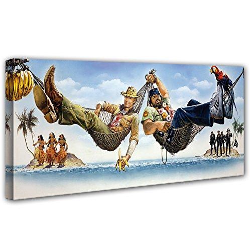 Terence Hill und Bud Spencer Leinwand - Zwei Asse trumpfen auf - Kunstdruck Renato Casaro Edition (120 x 50 cm)
