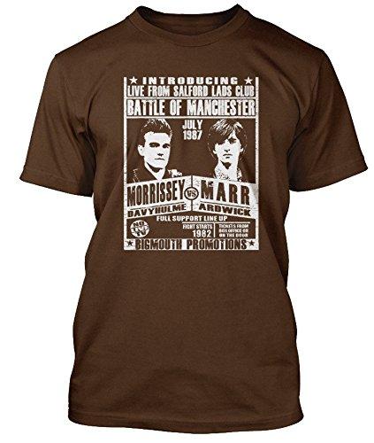 SMITHS inspired Morrissey vs Marr fight poster T-shirt, Herren, XX Large, Kaffeebraun