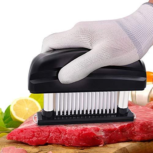 Attendrisseur de viande avec aiguille en acier inoxydable 48 - avec cache-poussière pour un rangement facile, idéal pour le poulet, le steak, le bœuf, etc,Black