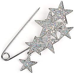 styleBREAKER imperdible de decoración de Mujer con Estrellas de estrás, para Ponchos, pañuelos o chales, alfiler de Seguridad 05050072, Color:Plata/Plata