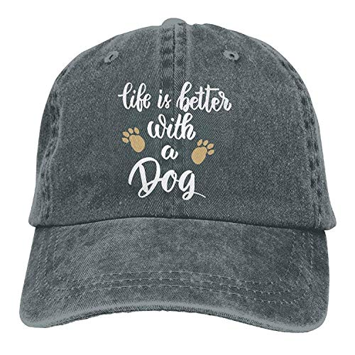 69d126b50e73 Wfispiy Life is Better with A Dog-1 Vintage Jeans Baseball Cap for Men and  Women X1784