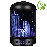 COOSA Empire State Building Designed 100ml Ultrasonic Essential Oil Diffuser Aromatheraphy Cool Mist Humidifier with Colorful LED Light for Home Office Living Room Yoga (Black 1)